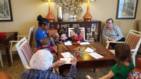 Assisted living activity at Linden House, preschoolers visit residents